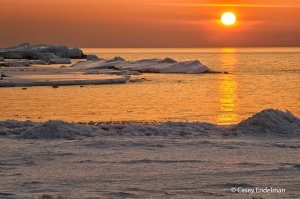 Sunset over Lake Superior Ice