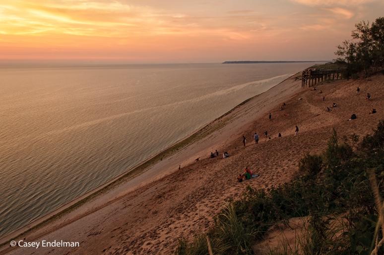 Sleeping Bear Dunes Overlook at Sunset